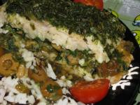Белая рыба,запеченая с оливками