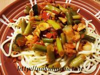 Заливка для риса и макарон с грибами и зеленой фасолью