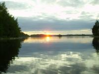 Ладога, Карелия. Белые ночи, закат. Фото с Безлесого острова.